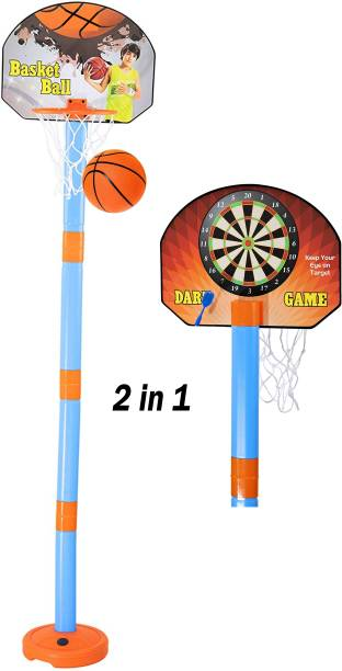 Pseudo 2 in1 Basketball Set with Adjustable Stand and Magnetic Dart Game for Kids for Indoor and Outdoor use (Rubber Basketball and 3 Darts Included in The Box) (Multi Colour) Basketball