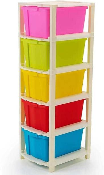 Mahadev Enterprise Plastic Free Standing Chest of 5 Drawers (Finish Color - Multicolor) Plastic Free Standing Chest of Drawers