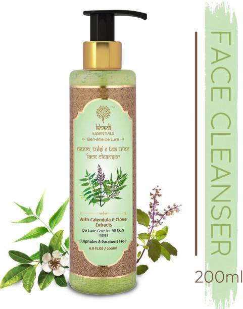 Khadi Essentials Ayurvedic Neem, Tulsi and Tea Tree  for Anti Acne and Blemishes | SLS and Paraben-Free Face Wash