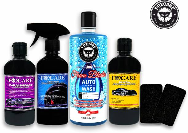 FOXCARE DASHBAORD AND INTERIOR POLISH, ALL IN ONE MUITIPURPOSE LIQUID POLISH, TYRE GLOSS- A COMPLETE SOLUTION FOR TYRE SHINE, FOAM BLASTER - CAR SHAMPOO - 500ML, 2 SPONGE APPLICATORS Combo