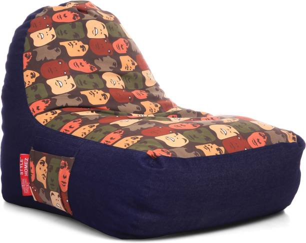 STYLE HOMEZ XXL Urban Design Denim Canvas Abstract Printed Lounger Bean Bag  With Bean Filling