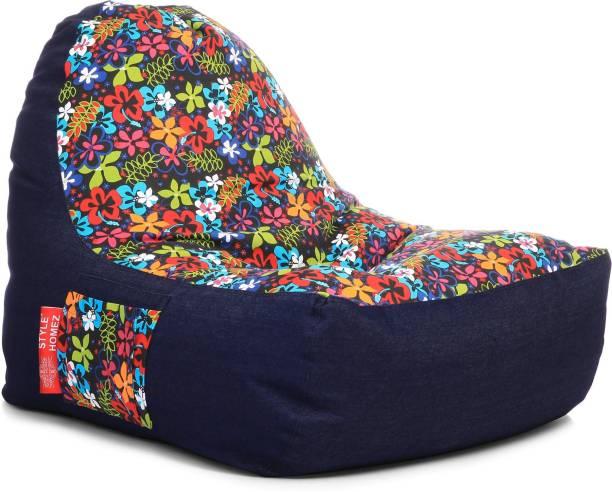 STYLE HOMEZ XXL Urban Design Denim Canvas Floral Printed Lounger Bean Bag  With Bean Filling
