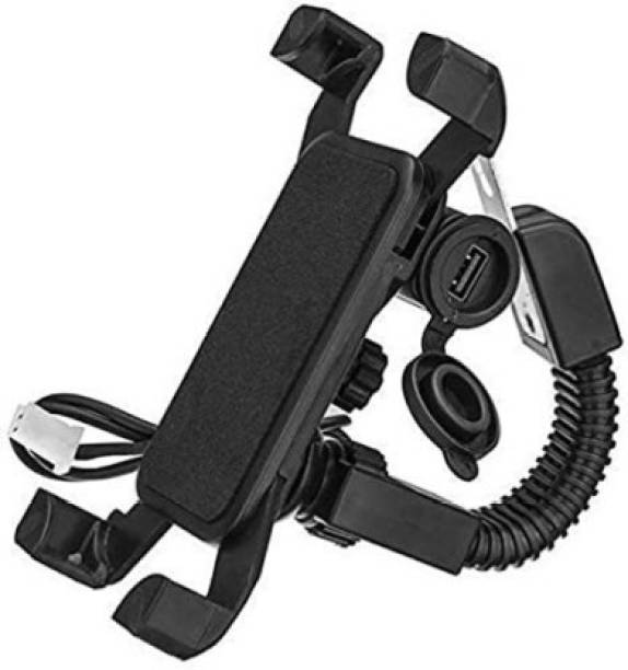 """SPYKART Motorcycle Phone Mount with USB Charger Port,Bike Motorcycle Cell Phone Holder Mount Stand Bracket for Most Mobile Smartphones (4"""" to 7"""")/GPS,Adjustable Clamp,on Handlebar Bike Mobile Holder"""