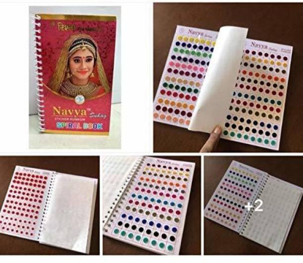 Navya Sticker Kumkum Multi Size & colored Spiral Book Bindi Forehead Multicolor Bindis