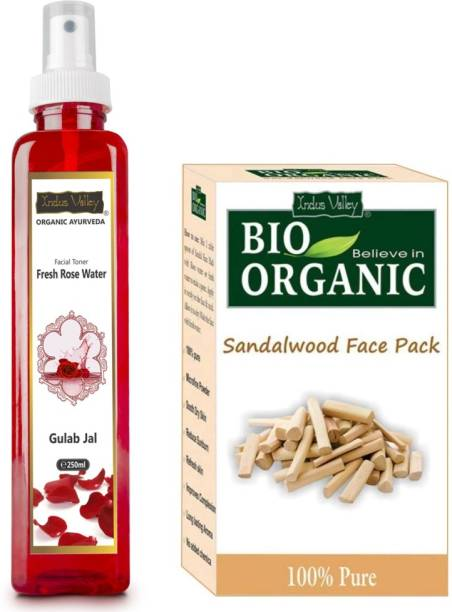 Indus Valley Organic Sandalwood Face Pack With Fresh Rose Water Facial Toner - For Skin Care