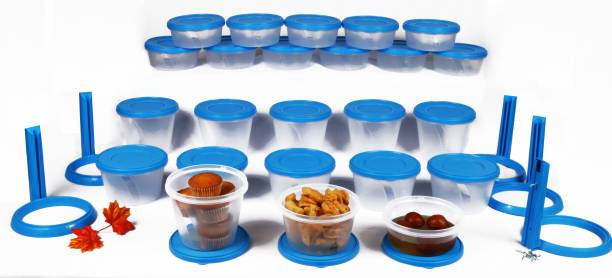 Cuttingedge NESTERWARE - 500 ml, 1000 ml, 750 ml PP (Polypropylene) Grocery Airtight Container Set for |Rice | Dal | Atta | Flour|Cereals |Pulses |Snacks (Pack of 70, White, Blue)  - 500 ml, 1000 ml, 750 ml Polypropylene Grocery Container