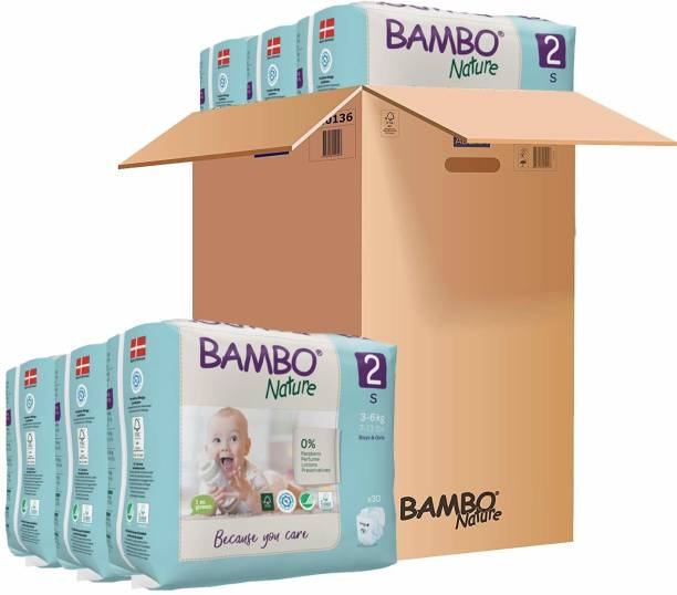 Bambo Nature Premium Baby Diapers - Small Size, Monthly Pack 180 Count, for Infant (1-3 months) - Super Absorbent, Eco-friendly and with a Wetness indicator - S