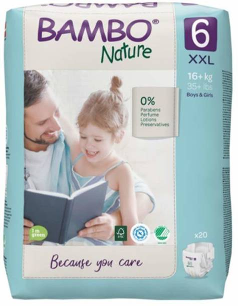 Bambo Nature Premium Baby Diapers - XXL Size, Monthly Pack 120 Count, For Preschooler (18 months onwards) - Super Absorbent, Eco-friendly and with a Wetness indicator - XXL