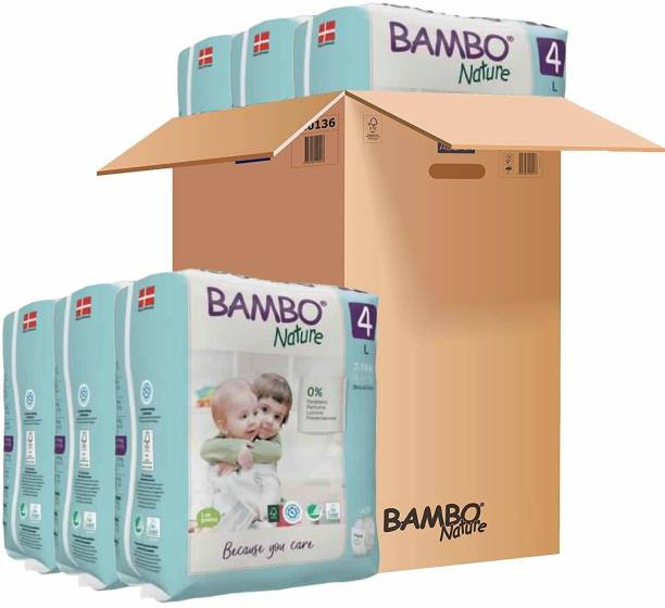 Bambo Nature Premium Baby Diapers - Large Size, Monthly Pack 144 Count, For Toddler (5-12 months) - Super Absorbent, Eco-friendly and with a Wetness indicator - L