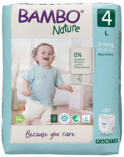 Bambo Nature Premium Baby Diapers - Pants Style, Large Size, Monthly Pack 100 Count - Super Absorbent Toilet Training Pull Ups With Wetness Indicator for Kids from 5-12 months - L