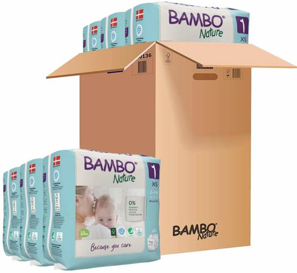 Bambo Nature Premium Baby Diapers - XS Size, Monthly Pack 132 Count, For Newborn (0-1 months) - Super Absorbent, Eco-friendly and with a Wetness indicator - XS