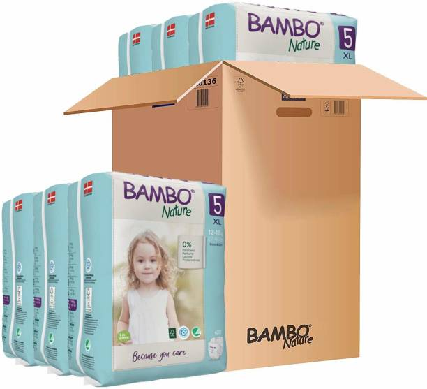 Bambo Nature Premium Baby Diapers - XL Size, Monthly Pack 132 Count, For Toddler (10-20 months) - Super Absorbent, Eco-friendly and with a Wetness indicator - XL