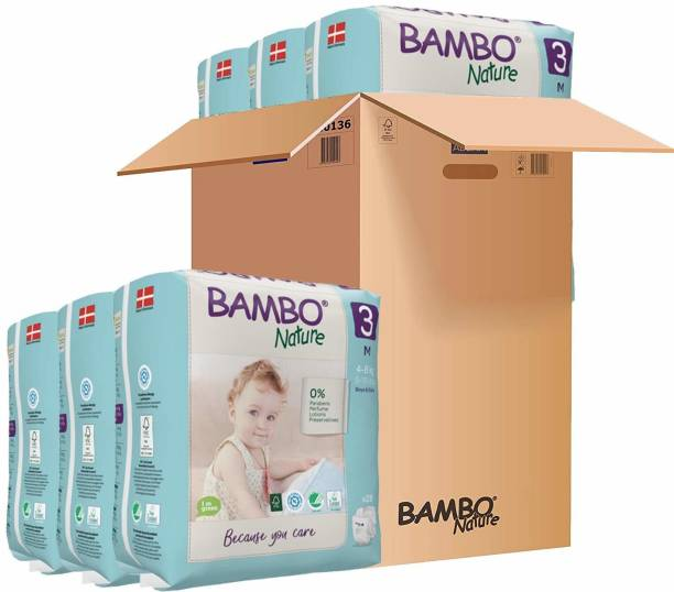 Bambo Nature Premium Baby Diapers - Medium Size, Monthly Pack 168 Count, for Infant (3-6 months) - Super Absorbent, Eco-friendly and with a Wetness indicator - M
