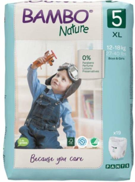 Bambo Nature Premium Baby Diapers - Pants Style, XL Size, Monthly Pack 95 Count - Super Absorbent Toilet Training Pull Ups With Wetness Indicator for Kids from 10-20 months - XL