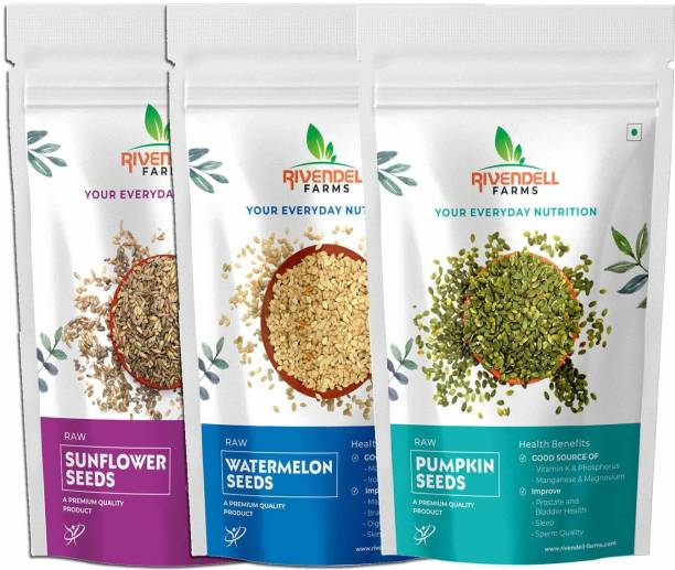 Rivendell Farms Combo of Raw Sunflower Seeds |Pumpkin Seeds | Watermelon Seeds | Rich in Nutrients | Good source of -Vitamin K |Phosphorous | Magnesium |Each 100 Gm - Pack of 3