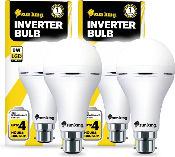 Sun King 9W LED Light Inverter Rechargeable Bulbs for Home And Outdoor, with 2200 mAh, B-22 Base and 4 hours Power Backup (Cool White Color) (Pack of 2) Bulb Emergency Light