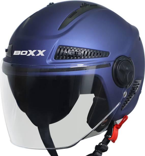 Steelbird Boxx Open Face Helmet, ISI Certified Helmet in Matt Matt Y. Blue with Clear Visor Motorbike Helmet