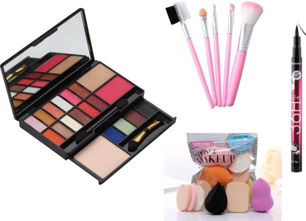 MY TYA Glam Makeup Kit + 5 Piece Brush Set + 6 Piece Makeup Sponges + Yanqina Eyeliner Black