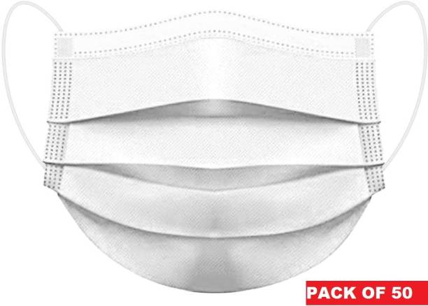 DM SPECIALLY FOR SPECIALIST - 3 ply Nose wire Face Mask in White color, Unique Design - Comfortable elastic earloops Water Resistant Surgical Mask