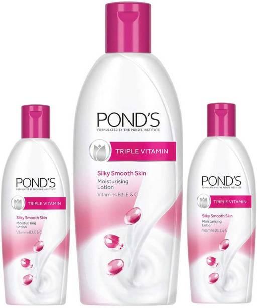 PONDS Moisturizing Lotion Triple Vitamin For Smooth Skin 300ml+ 2N 100ml