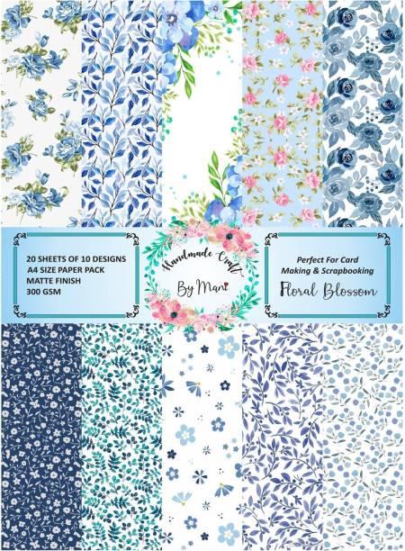 Dheett Floral Blossom Scrapbook Designer Paperpack A4 300 gsm Craft paper