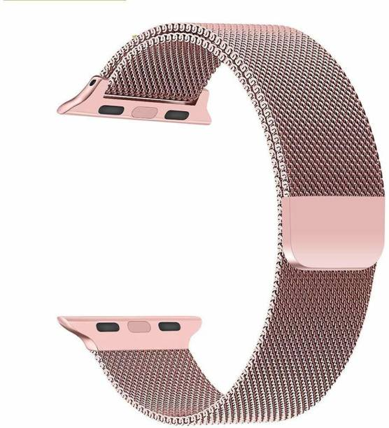 Tingtong Stainless Steel 42mm/44mm Milanese Band with Magnetic Closure Rose Gold Chain Smart Watch Strap