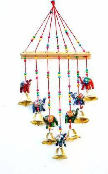 RVART Handcrafted Rajasthani Colored Bells Design Wall Hanging Wood Windchime Wood Windchime