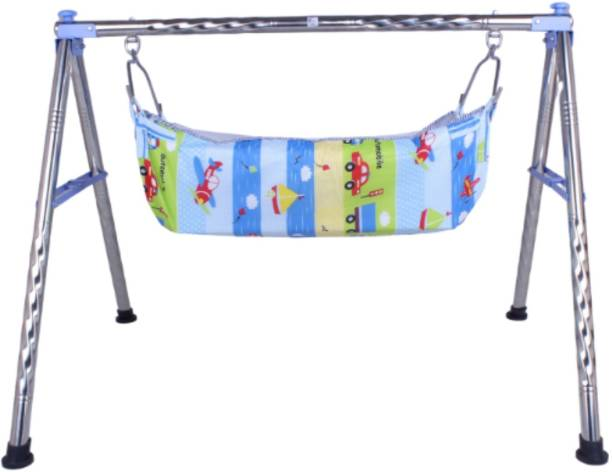 vyana sales skyblue foldable round stainless steel cradle with cot (KHOYU)