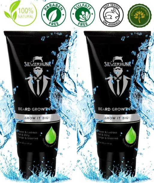 silverhunk Natural Oils With Aloe Vera BEARD GEL For Healthy, Shiny, Thick And Soft Beard Growth Beard Gel