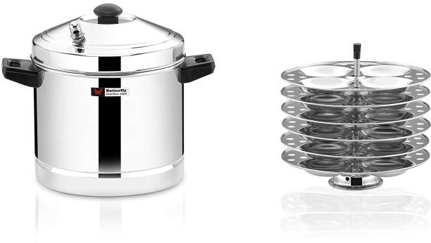 Butterfly Stainless Steel Idly Cooker 6 Plates Set Induction & Standard Idli Maker