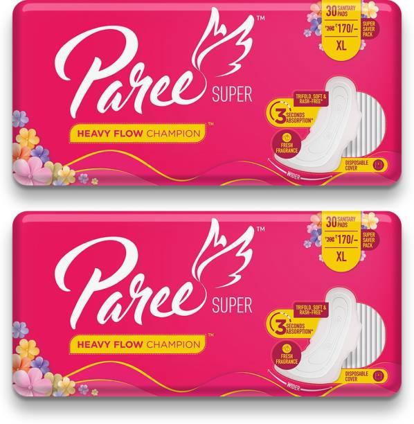Paree Super Soft & Rash Free Sanitary Pads For Heavy Flow 30 Pads- XL (Tri-Fold) Sanitary Pad