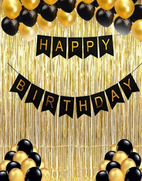 Devansh enterprises Solid Combo of 35, 1 Piece Happy Birthday Banner Black , 30 Black and Golden Balloons, 2 Curtains, (Pack Of 35) Balloon
