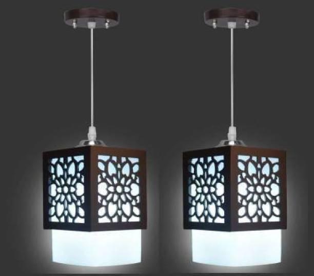 Gojeeva Wooden Hanging Lamp Style Hanging Lamp Creative Wood Pendant Light Lamp suitable for Living Room,Foyer,Bedroom,Hallway Pendants(pack of 2) Pendants Ceiling Lamp