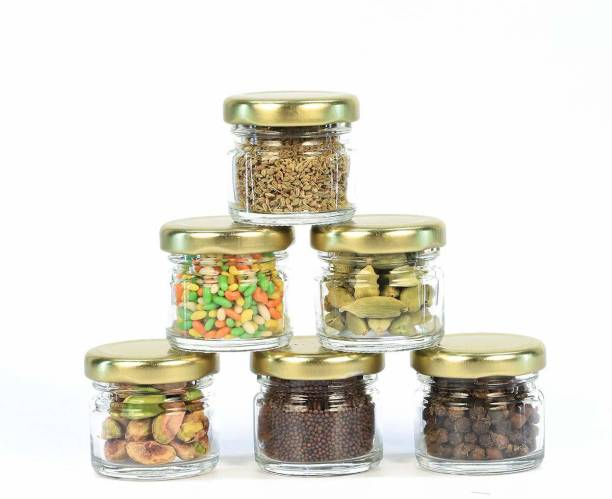 vetreo 30 ML MINI GLASS JAR (PACK OF 6) WITH METAL TURMERIC SPICE SALT CEREAL GROCERY CONTAINER SE CAPT CLEAR CAPACITY OF 30 ML KITCHEN STACABLE STORAGE ICE CREAM CONTAINER PIKLE JAR Glass Jar With Metal Golden Color Air Tight And Rust Proof Cap Pack of 6  - 30 ml Glass Grocery Container