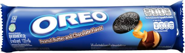 OREO Peanut Butter & Chocolate Cream Flavoured Sandwich Cookies 133gm (Imorted) (Pack Of 1) Cream Filled