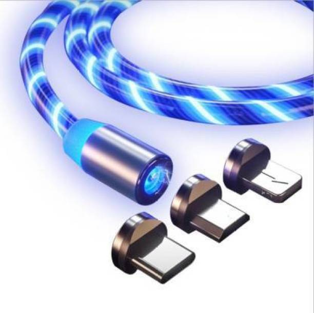 D.V TECH current flow light magnet 3in1 cable micro usb, type-c, ios port cable fast charging data cable 1 m Micro USB Cable