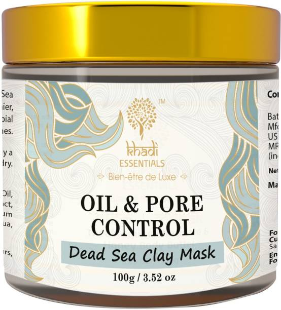 Khadi Essentials Ayurvedic Dead Sea Clay Face Mask For Oil and Pore Control with Jojoba Oil, Vitamin E and Jasmine Extracts, SLS & Parabens Free