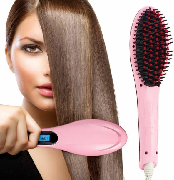 UK ZONE Hair Electric Comb Brush 3 in 1 Ceramic Fast Hair Straightener For Women's Hair Straightening Brush with LCD Screen, Temperature Control Display,Hair Straightener For Women (Pink) 14HJ4 Hair Straightener