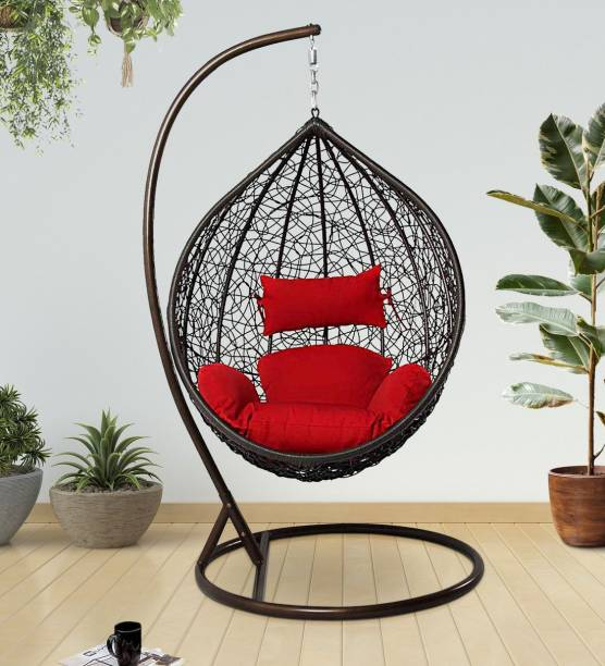 SPYDER HOME DECORE Swing Chair Stand Stylish Cushion Iron, Plastic Large Swing