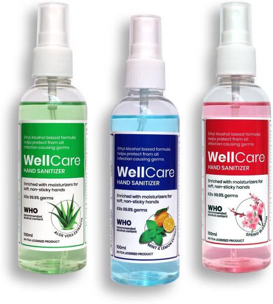 Wellcare  Spray, Combo, 100ml (x3) | Mint & Lemon, Aloe Vera, Spring Blossom Sanitizer Spray Bottle
