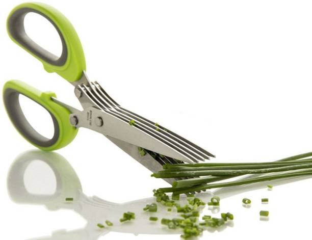 ZURU BUNCH Herb Scissors with 5 Blades and Cover Cool Kitchen Gadgets Cutter Chopper and Mincer Sharp Heavy Duty Shears for Cutting Shredding and Cooking Fresh Garden Herbs Stainless Steel Herbs Scissor