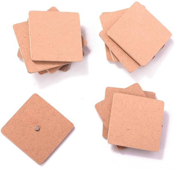 BRIGHT WOOD CRAFT Wood Sheet Square Craft Magnet - Plain MDF Fridge Magnet Blanks Cutouts - Set of 20-2 in X 2in X 3 mm Magnets for Painting Wooden Sheet Craft, Decoupage, Resin Art Work & Decoration Fridge Magnet Pack of 20