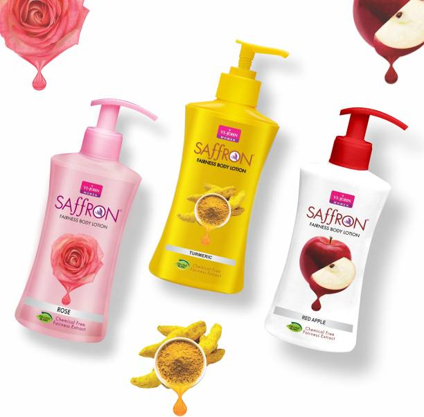 VI-JOHN Body Lotion Combo of 3 | 250 ml Each | For Men and Women | All Skin Types | Rose | Turmeric | Red Apple