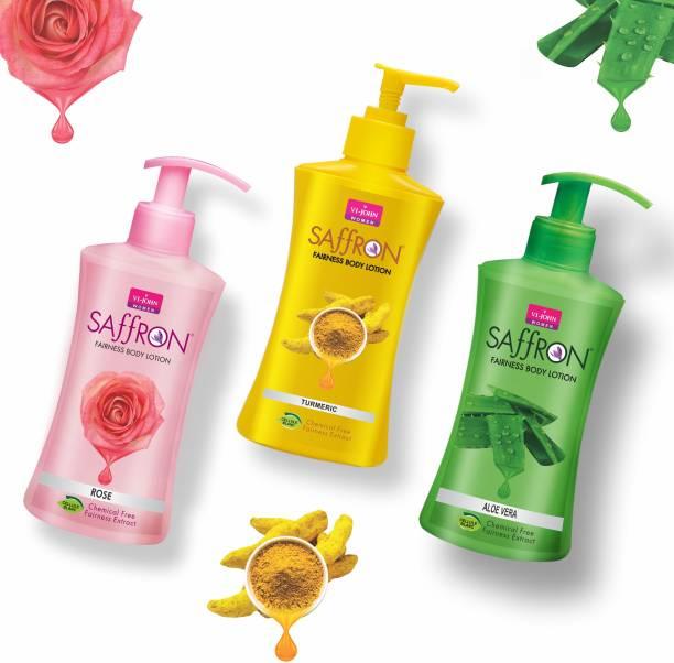 VI-JOHN Body Lotion Combo of 3 | 250 ml Each | For Men and Women | All Skin Types | Rose | Turmeric | Aloe Vera