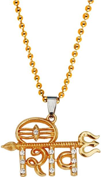 M Men Style Religious Shiva Locket With Ball Chain Gold-plated Cubic Zirconia Brass, Crystal Pendant