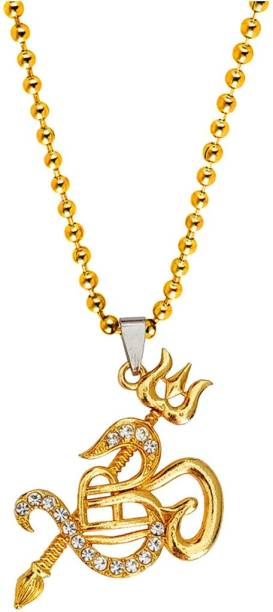 M Men Style Religious Om Trishul Shivlinga Locket With Ball Chain Gold-plated Cubic Zirconia Brass, Crystal Pendant