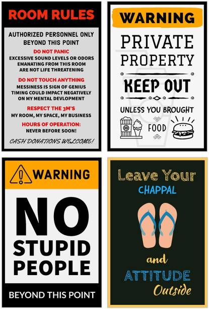 Pack of 4 Funny Posters for Room, Office, Door, Wall Paper Print