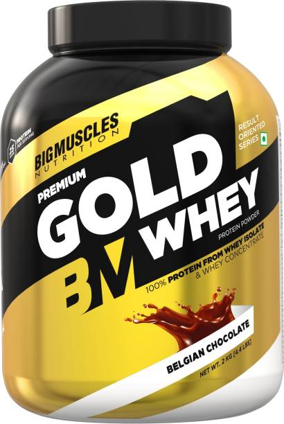 BIGMUSCLES NUTRITION Premium Gold Whey | 25g Protein Per Serving, 0g Sugar,5.5g BCAA Whey Protein