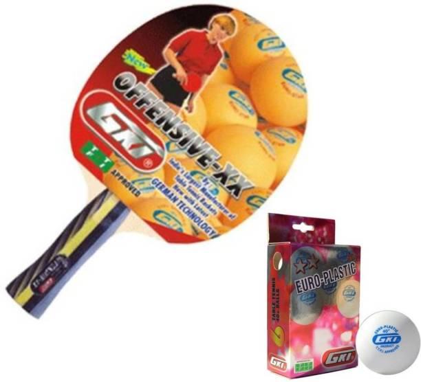 GKI Offensive X.X T.T Racket + Two star Euro Plastic (White) TT ball ( 6 balls) Table Tennis Kit