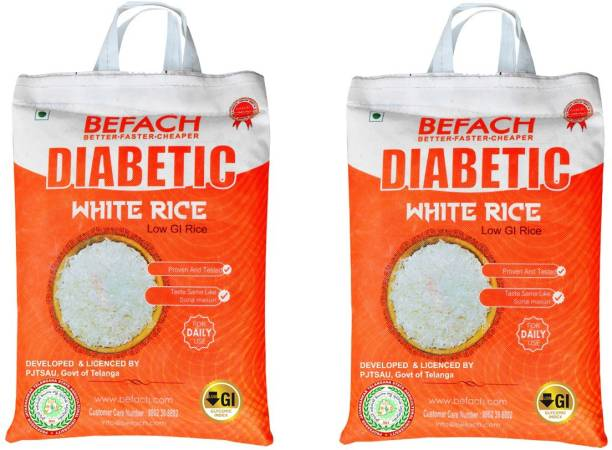 Befach Diabetic Friendly / Low Glycemic (GI) Index (pack of 2) Sona Masoori Rice (Medium Grain, Polished)